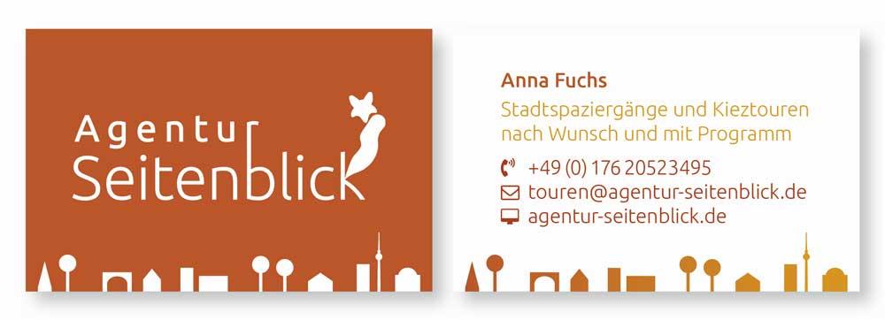 Visitenkarte für Stadtführerin Anna Fuchs / Agentur Seitenblick